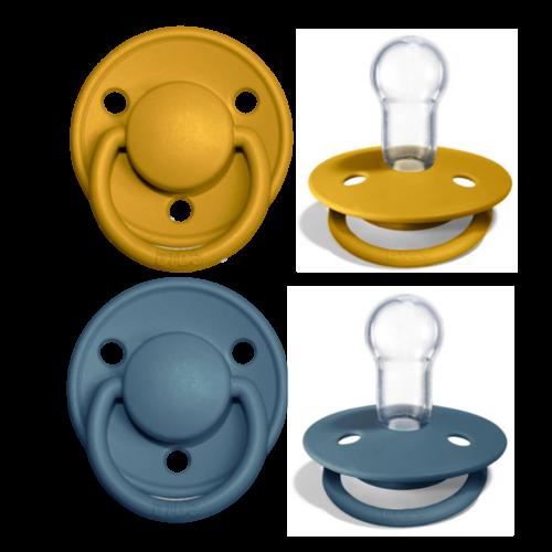 Schnullerset - Mustard & Petrol Silicone - Bibs de Lux