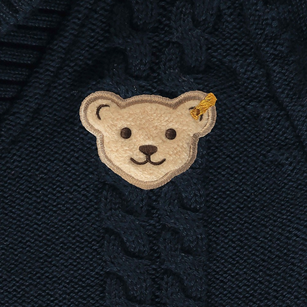 Steiff Baumwoll-Strickeinteiler | Navyblau | Teddy Motiv | Nah